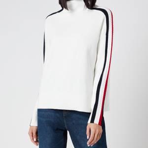 Tommy Hilfiger Women's Side Stripe Mock Neck Sweater - Ecru
