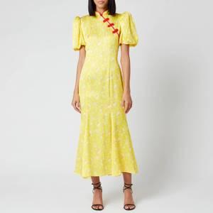 De La Vali Women's Bluebell Printed Satin Midi Dress - Yellow Rose