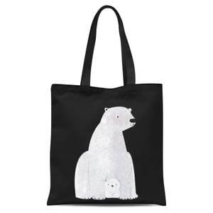 Snowtap Polar Bear And Cub Tote Bag - Black