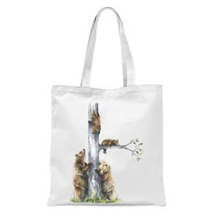 Snowtap Bear Family Tote Bag - White