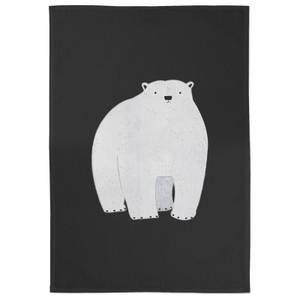 Snowtap Polar Bear Pondering Cotton Tea Towel - Black