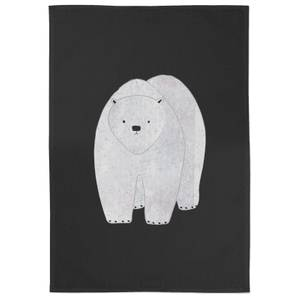 Snowtap Polar Bear Hunched Cotton Tea Towel - Black