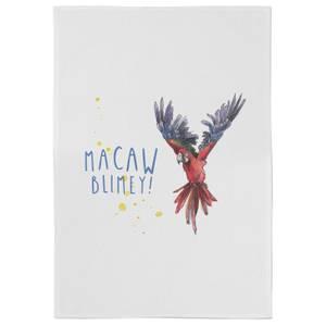 Snowtap Macaw Blimey Cotton Tea Towel - White