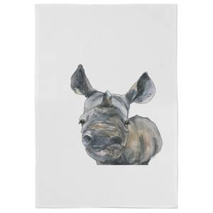 Snowtap Rhino Cotton Tea Towel - White