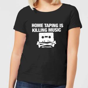 Home Taping Is Killing Music White Women's T-Shirt - Black
