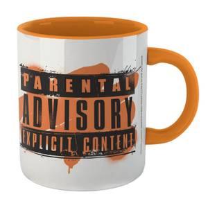 Parental Advisory Explicit Content Mug - White/Orange