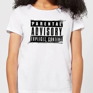 Parental Advisory Explicit Content Black Women's T-Shirt - White