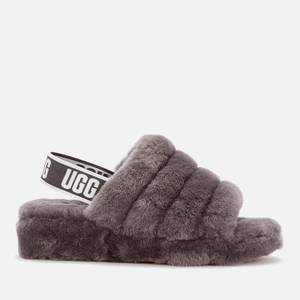 UGG Women's Fluff Yeah Slide Sheepskin Slippers - Charcoal