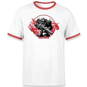 T-shirt Ringer Transformers Earthrise Retro Blanc/Rouge - Unisexe