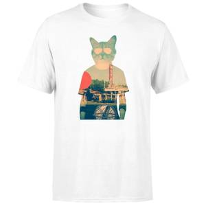 Ikiiki Cool Cat Men's T-Shirt - White