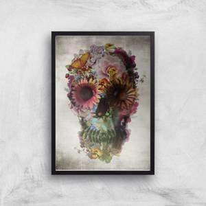 Ikiiki Floral Skull Giclee Art Print