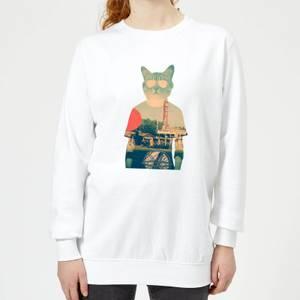 Ikiiki Cool Cat Women's Sweatshirt - White