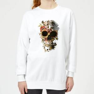 Ikiiki Floral Skull Women's Sweatshirt - White