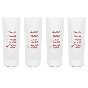 Santa's Drinking List Shot Glasses - Set of 4
