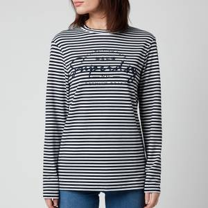 Superdry Women's Stripe Graphic NYC Top - Nautical Navy Stripe