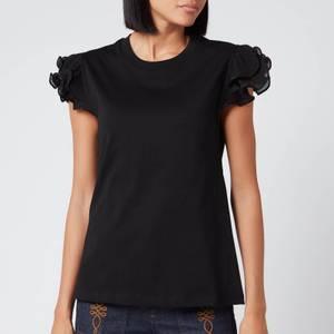 See By Chloé Women's Frill Sleeve T-Shirt - Black