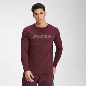 Herren Outline Grafik Langarm-T-Shirt - Washed Oxblood