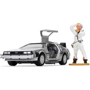 Back to the Future DeLorean and Doc Brown Figure Model Set - Scale 1:36