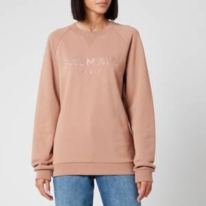 Balmain Women's Satin Logo Sweatshirt - Beige