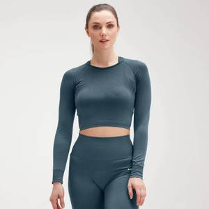 MP Women's Shape Seamless Ultra Long-Sleeve Crop Top - Tiefseeblau