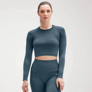 MP Women's Shape Seamless Ultra Long Sleeve Crop Top - Deep Sea Blue
