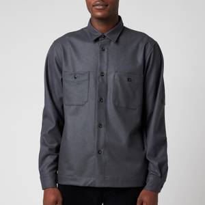Officine Generale Men's Barry Flannel Shirt - Solid Grey
