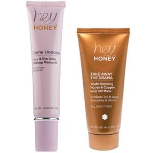 Hey Honey COME UNDONE Daily Makeup Remover for Face and Eyes / TAKE AWAY THE DRAMA Youth Boosting Honey and Copper Peel Off Mask