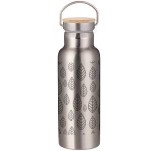 Hand Drawn Leaf Pattern Portable Insulated Water Bottle - Steel