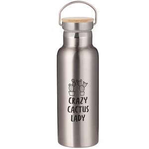 Crazy Cactus Lady Portable Insulated Water Bottle - Steel