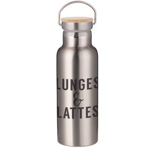 Lunges & Lattes Portable Insulated Water Bottle - Steel