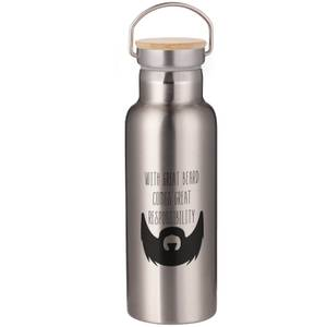 With Great Beard Comes Great Responsibility Portable Insulated Water Bottle - Steel