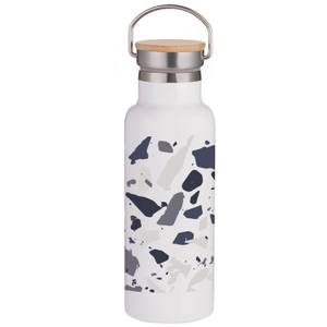 Blue Terrazzo Portable Insulated Water Bottle - White