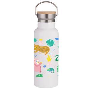 Safari Animals Portable Insulated Water Bottle - White