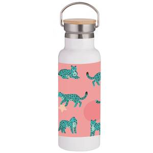 Leopard And Stars Portable Insulated Water Bottle - White