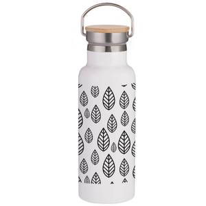 Hand Drawn Leaf Pattern Portable Insulated Water Bottle - White