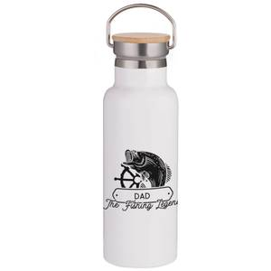 Dad the Fishing Legend Portable Insulated Water Bottle - White
