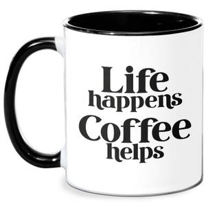 Life Happens, Coffee Helps Mug - White/Black