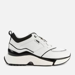 KARL LAGERFELD Women's Aventur Astral Plane Leather Running Style Trainers - White/Black