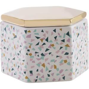 Gozo Ceramic Jar - Gold Finish Lid