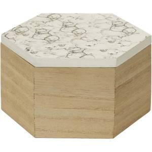 Mimo Hexagon Trinket Box - White Faux Marble