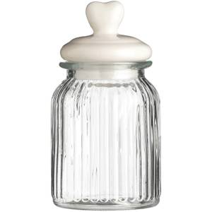 Ribbed Glass Heart Storage Jar - 1000ml