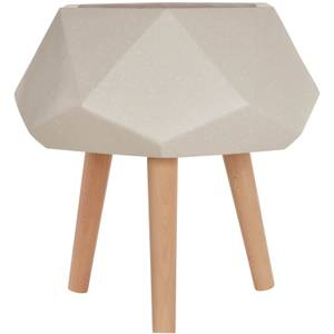 Darnell Multi-Faceted Planter - White and Wood
