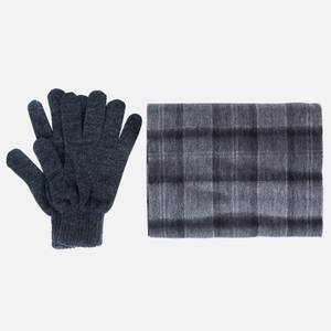 Barbour Men's Tartan Scarf and Gloves Gift Set - Black/Grey Check