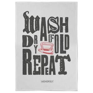 Monopoly Wash Dry Fold Repeat Tea Towel