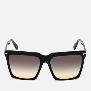 Tom Ford Women's Oversized Square Frame Sunglasses - Black/Smoke