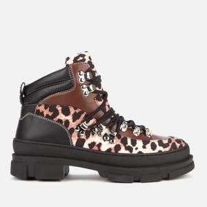 Ganni Women's Hiking Mix Style Boots - Leopard
