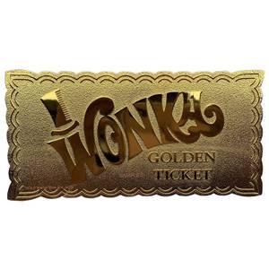 Réplique Billet Gagnant Willy Wonka Plaqué Or 24k (50e Anniversaire) - Edition Limitée en Exclusivité Zavvi