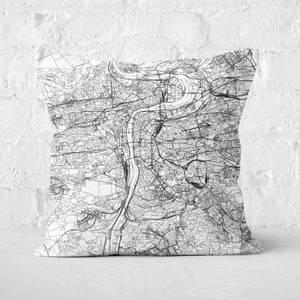 Prague City Map Square Cushion