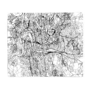 Prague City Map Fleece Blanket