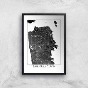 San Francisco Dark City Map Giclee Art Print